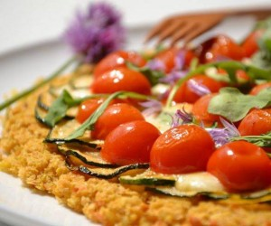 Socca-pizza aux tomates-cerises