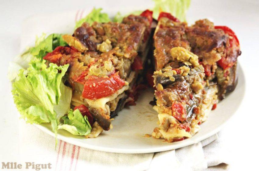 Lasagnes de pois cassés aux aubergines et tomates