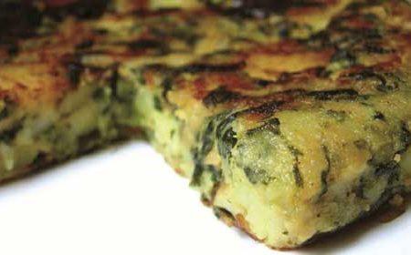 """""""Omelette"""" aux pommes de terre et aux épinards"""
