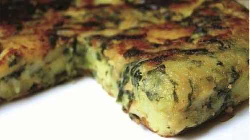 """<span class=""""dquo"""">""""</span>Omelette"""" aux pommes de terre et aux épinards"""