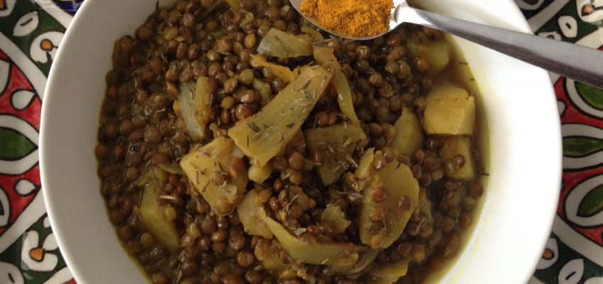 Curry de lentilles vertes aux patates douces