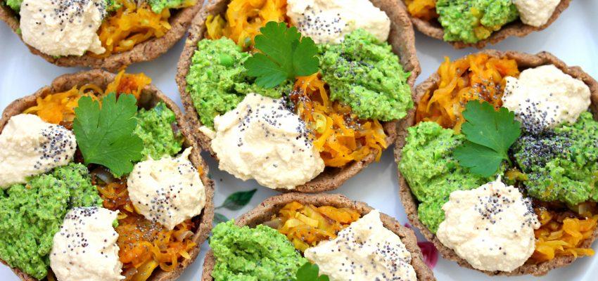 Tartelette colorée courge, pesto vert et crèmecajou