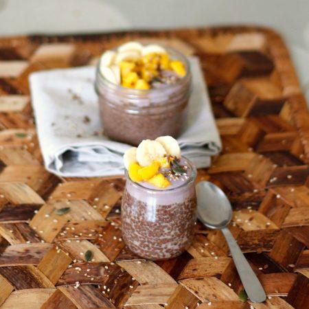 Overnight chia pudding au cacao