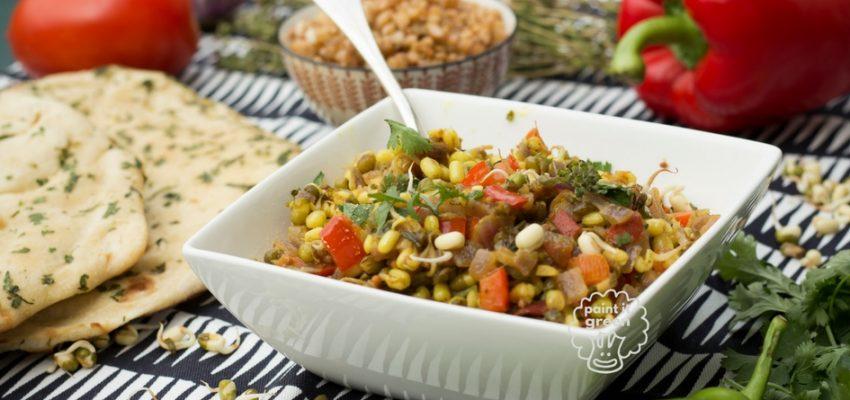 Poêlée d'haricots mungos germés, poivron et épices indiennes