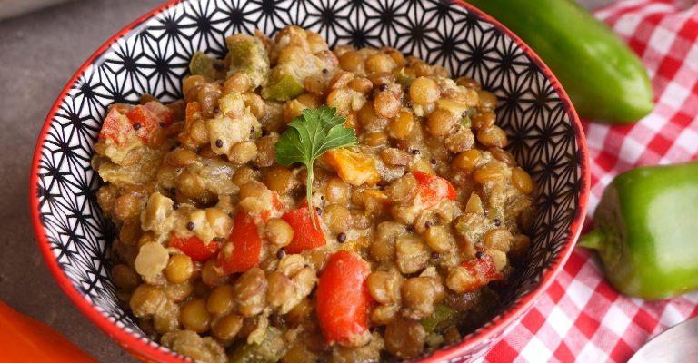 Dhal de lentilles blondes aux trois poivrons 1 2 3 veggie - Comment cuisiner des lentilles blondes ...