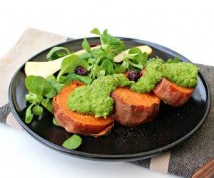 Patate douce en palets fondants et pesto de kale
