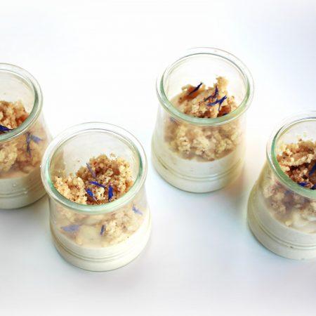 Crème dessert végétalienne au citron et pâte biscuitée