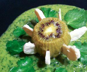 Kiwi rotis sauce crémeuse sucrée pois cassés coriandre