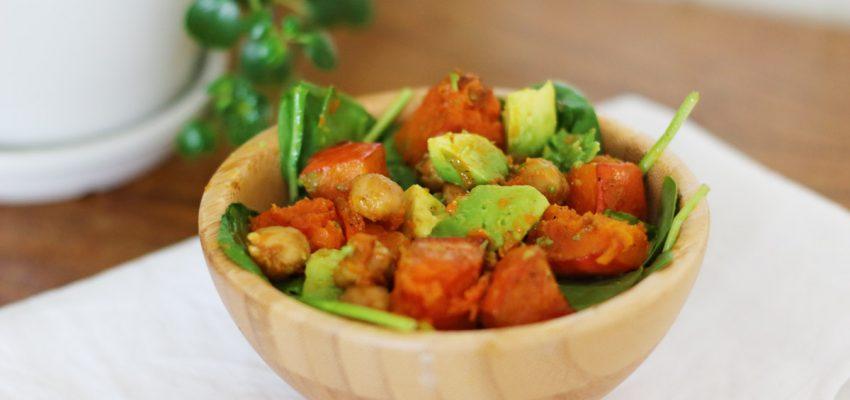 Salade potimarron pois chiches rôtis épinards