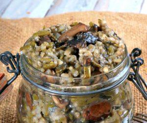 Risotto végétalien haricots verts et champignons