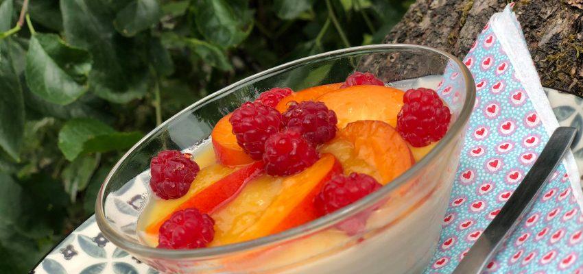 panna cotta à la badiane, crupote d'abricots et nectarines