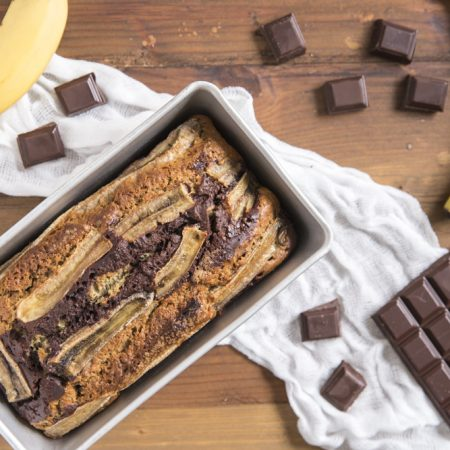 Cake marbré chocolat, banane et vanille