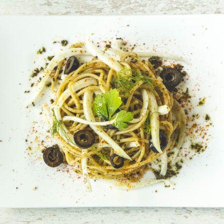 spaghettis végétal olive fenouil vegan