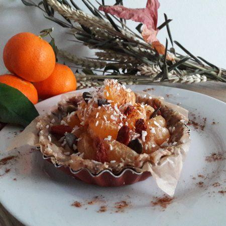 Tartelette à la clémentine, compote de pomme crue <span class=