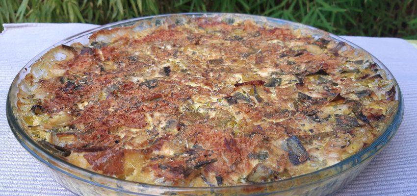 Gratin de pomme de terre, de poireau et de brocoli