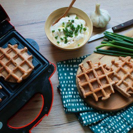 Gaufres salées — Farine de châtaigne, ail et ciboulette