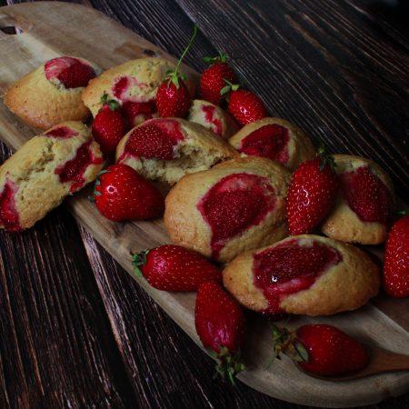Madeleines aux fraises 100% végétales