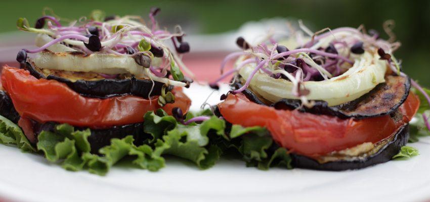 aubergine tomate barbecue vegan