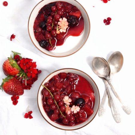 Panna Cotta aux fruits rouges au géranium